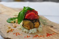 Tortino di scampi, ricotta e melanzane スカンピとリコッタの茄子のトルティーノ